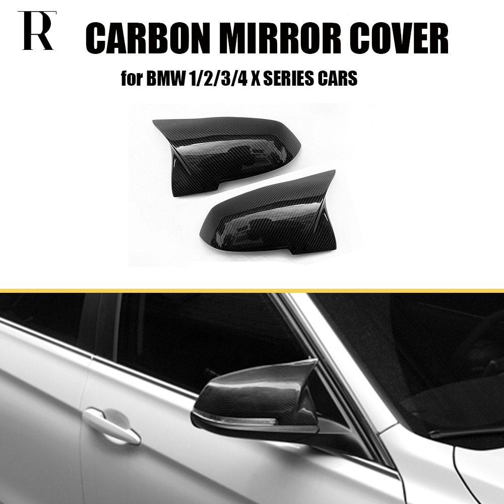M3 & M4 Style Carbon Fiber Replaced Rear View Side Mirror Cover Cap for BMW 1 2 3 4 X Series F20 F21 F22 F23 F30 F34 F36 E84 X1