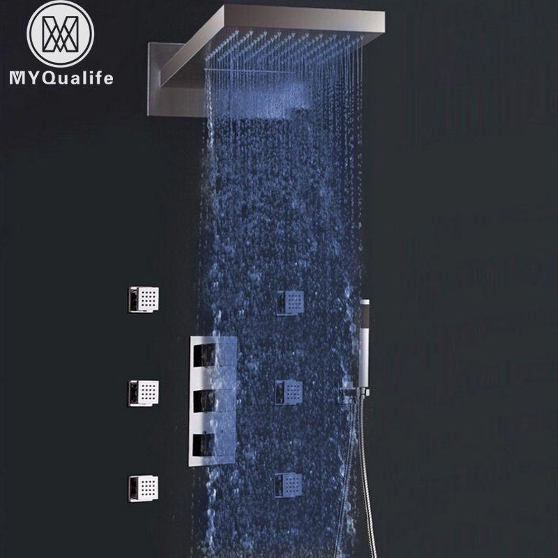 Die weit verbreitete Kleinhandel-luxury Led-farbe Ändern Thermo Wasserfall Regen Dusche Wasserhahn & Massagedüsen und Handbrause