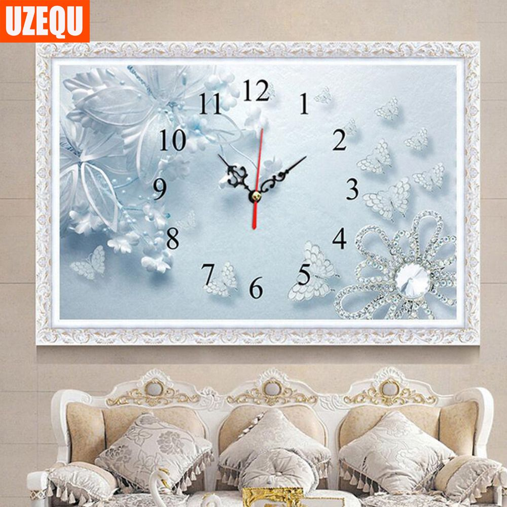 UzeQu Full Diamond Embroidery Butterfly Wall Clock 5D DIY Diamond Painting Cross Stitch Watch 3D Diamond Mosaic Rhinestones Arts