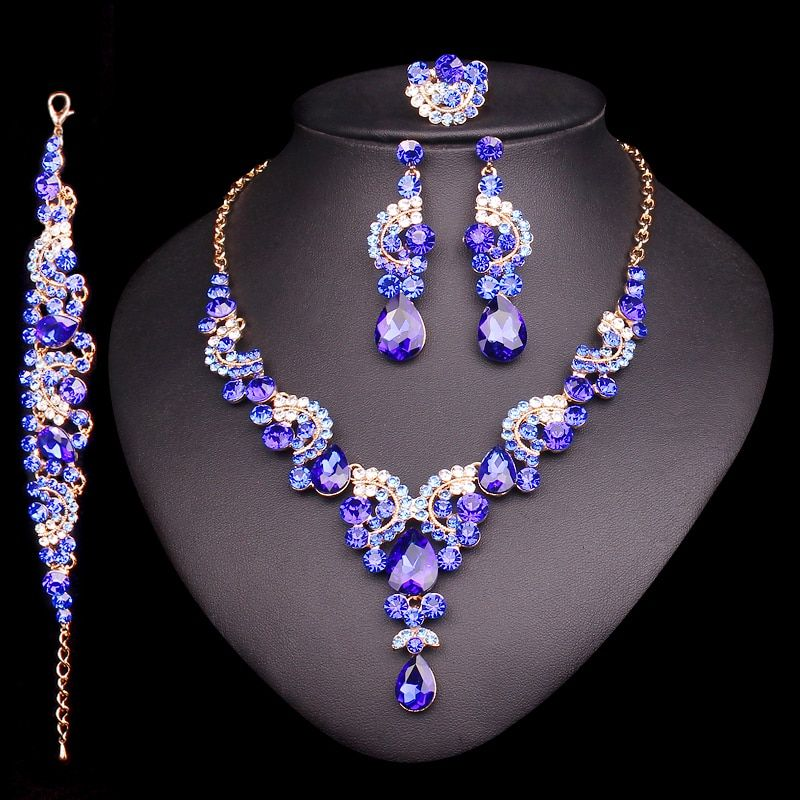 2018 Fashion Crystal Indian Necklace Earring Bracelet Ring Jewelry Sets for Women Brides Bridal Wedding Party Costume Jewellery