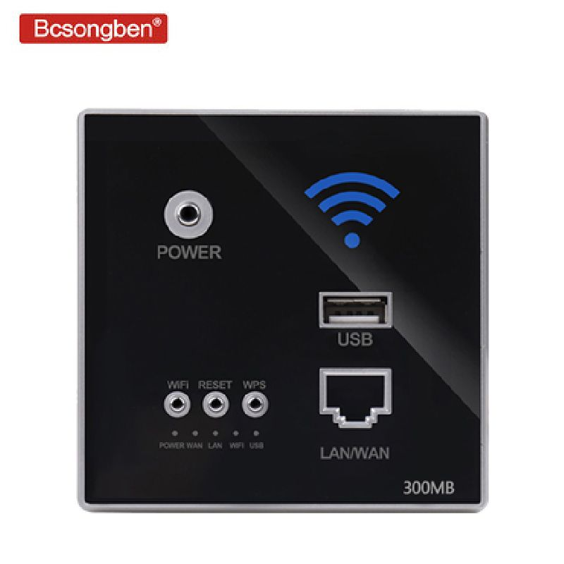 Type 86 embedded router 300Mbps 220VAP Hotel Relay Smart Wireless WIFI 300M Wall Embedded 2.4Ghz Router Panel usb socket