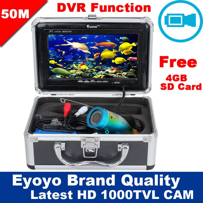 Free Shipping!Eyoyo Original 50M 1000TVL HD CAM Professional Fish Finder Underwater Fishing Video Recorder DVR 7 Color Monitor