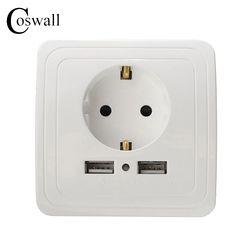 № Coswall розетки 16A ЕС стандартной розетке с 2A двойное зарядное устройство usb порт для мобильного белый цвет серебристый, Золотой 3 цвета