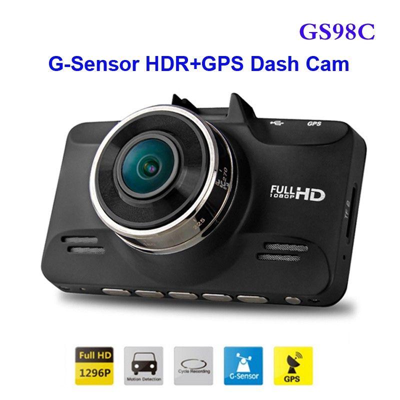 Freies Verschiffen!! Original GS98C Ambarella A7 LA70 Auto DVR Volles HD Video Recorder 2304*1296 P 30FPS mit G-sensor HDR + GPS Dash Cam