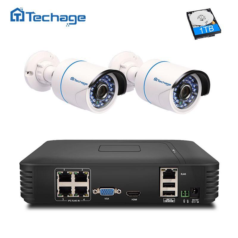 Techage 4CH 1080 p POE NVR CCTV Système de Caméra Intérieure Extérieure PoE IP Caméra IR Nuit Vision Sécurité À La Maison Vidéo kit de Surveillance