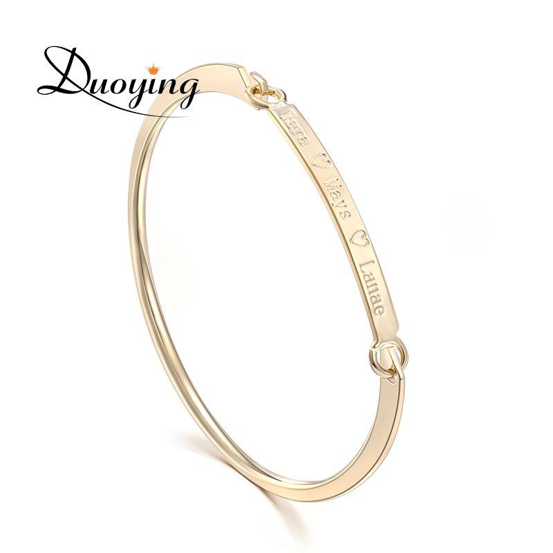 DUOYING 40*4mm Bracelet en or Bar Bracelet personnalisé nom Bracelet en cuivre personnaliser initiale graver nom Bracelet et Bracelet pour Etsy