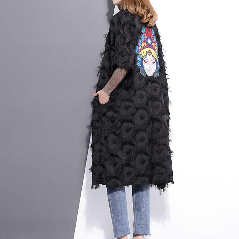 [GUTU] 2017 Spring Summer Fashion Black White Embroidery Back Coat Loose Feather Windbreaker V Neck Big Size New Woman Q333