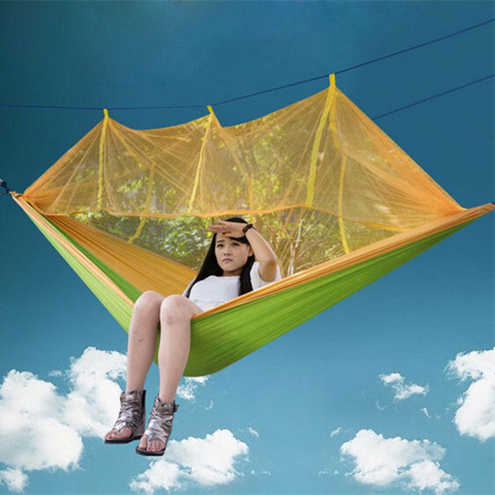 Lit accrochant extérieur portatif de hamac de Camping avec la moustiquaire 260x130 cm hamac de sommeil de tentes de tissu de Parachute de haute résistance