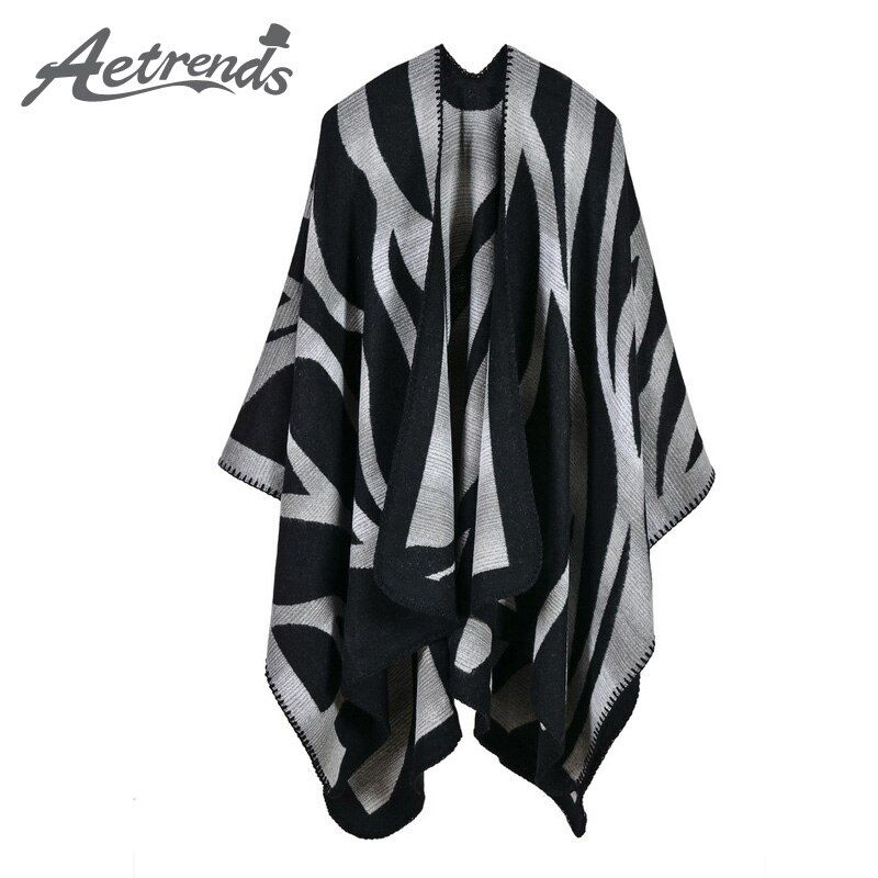 [AETRENDS] 2017 New Winter Scarves <font><b>Cashmere</b></font> Feel Scarf Women Poncho Cape Fashion Striped Design Z-3981