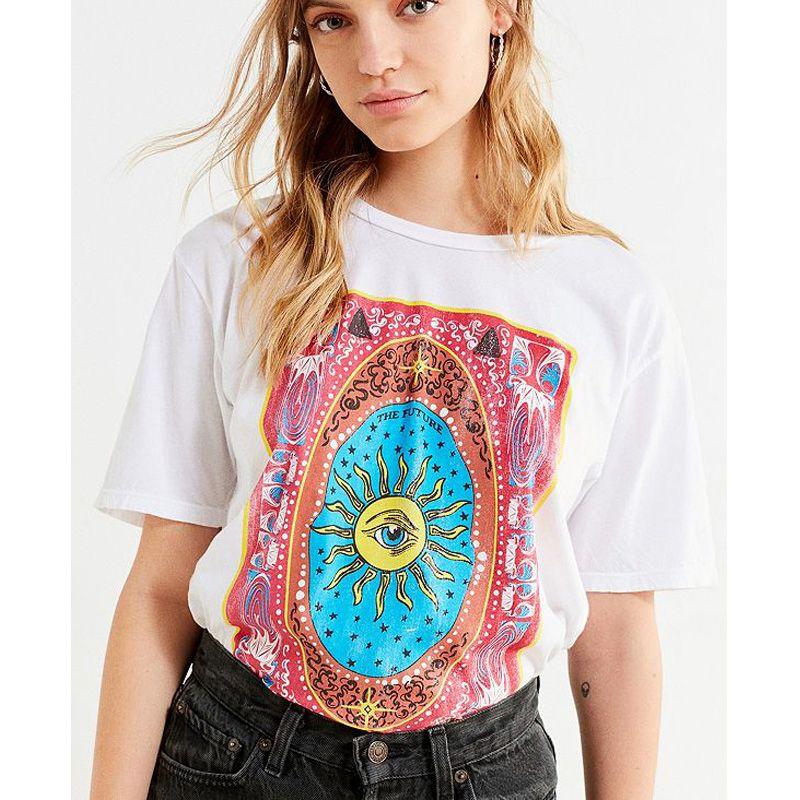 D'été Big Eye Impression T Shirt Femmes Élégant Tumblr Coton Féministe Harajuku Occasionnel Végétalien Drôle Vintage Blanc Tops Plus La Taille