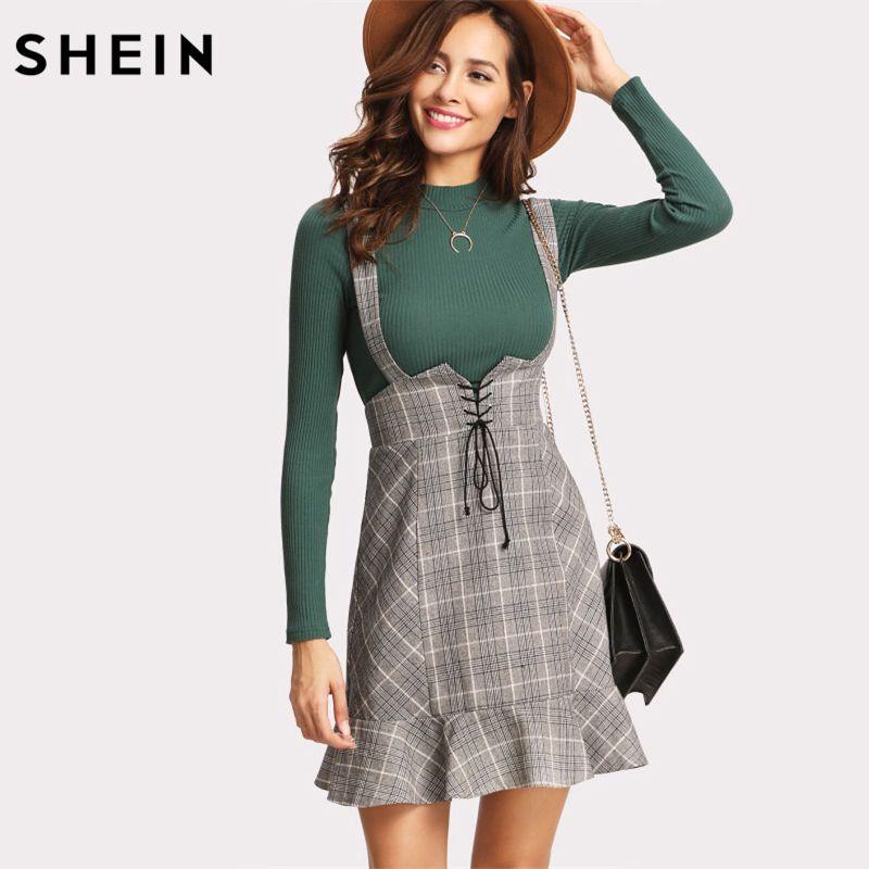 SHEIN Skirts Womens High Waist Woman Skirt Autumn Winter Lace Up Front Ruffle Hem Plaid Skirt Grey Zipper Back Sheath Skirt