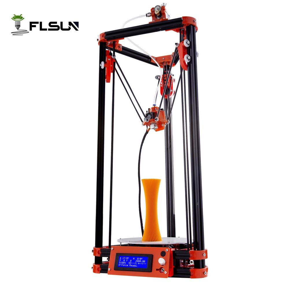 FLSUN 3d printer Big pulley Kossel 3d Printer With One Roll Filament SD Card Fast Shipping