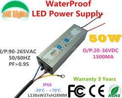 50 w IP67 Étanche Alimentation DC 20 v à 36 v 1500mA LED Pilote 110 v 220 v Éclairage transformateurs pour LED Projecteur CE