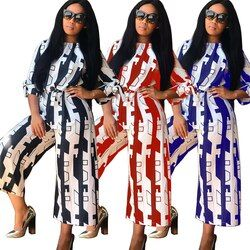 Baibazin Baru Fashion Printing Digital Di Afrika Populer Pencetakan Tanpa Tali Tanpa Lengan Ukuran Besar Jumpsuit Celana