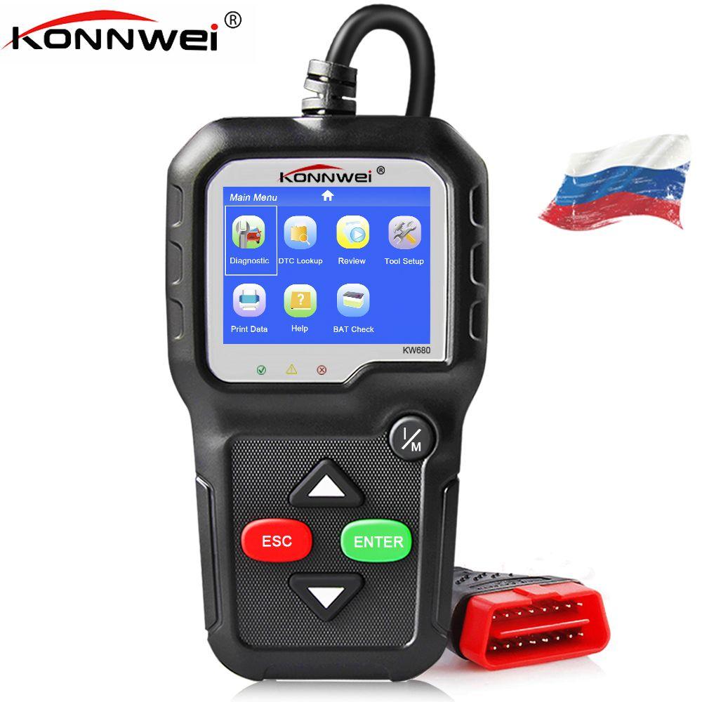 2018 OBD 2 Autoscanner KONNWEI KW680 Supports Multilingual <font><b>Automotive</b></font> Scanner OBD II Auto Full OBD2 Function Car Sticker as gift
