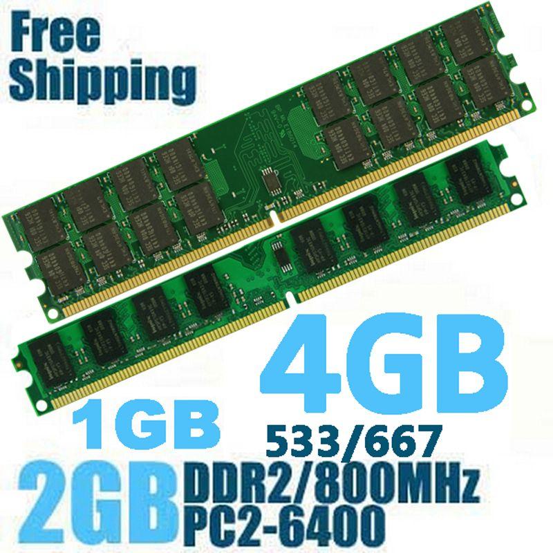 DDR2 800 PC2-6400 PC2 6400 5300 4200 1 GO 2 GO 4 GO ram de bureau Mémoire memoria compatible avec DDR 2 800 MHz 667 MHz/533 MHz