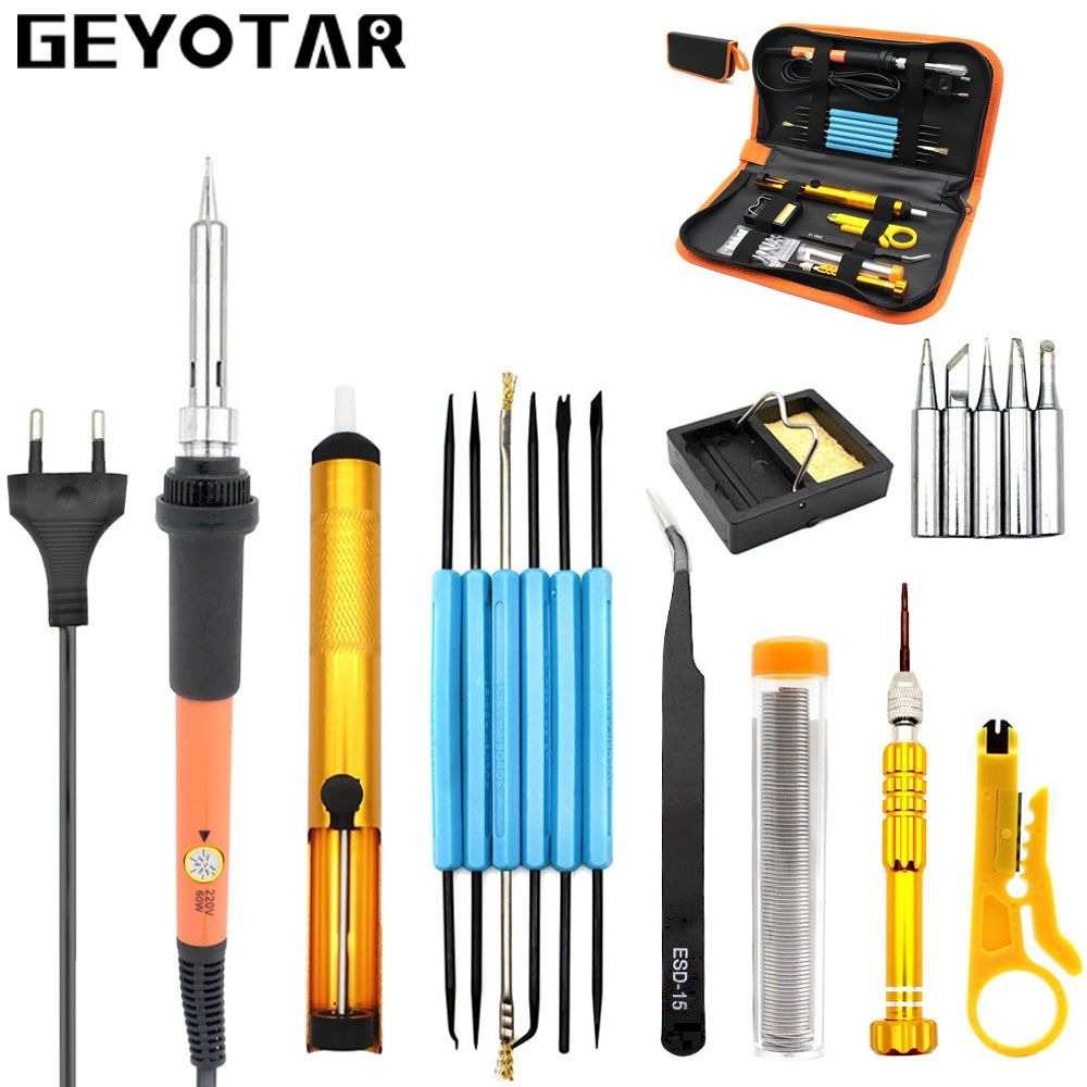 Eu Plug 220v 60w Adjustable Temperature Electric Soldering Iron Kit+5pcs Tips Portable Welding Repair Tool screwdriver SolderTin