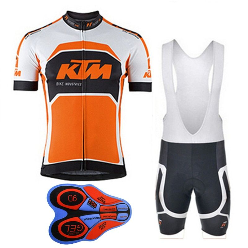 2018 KTM Men's Cycling Shirts Summer Mtb Bike Apparel Bike Short Sleeve 9D Bib Shorts Set Maillot Ciclismo Sportswear