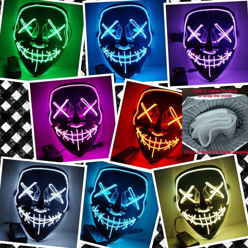 Halloween masque lumière LED Up fête masques la Purge élection année grands masques drôles Festival Cosplay Costume fournitures brillent dans le noir