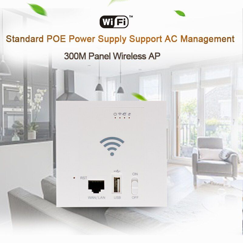 45Pcs 300Mbps WiFi Repeater 86 Panel in Wand Access Point USB2.0 POE 24V Wireless Router SSID 2,4G 802.11n 10/100M WAN LAN