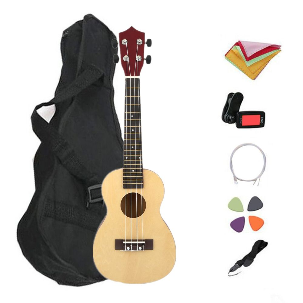 TSAI 7Pcs/Set 21 23 inch Professional Wooden Ukulele Hawaii Style Basswood 4 Strings Ukelele Music Instrument For Beginners