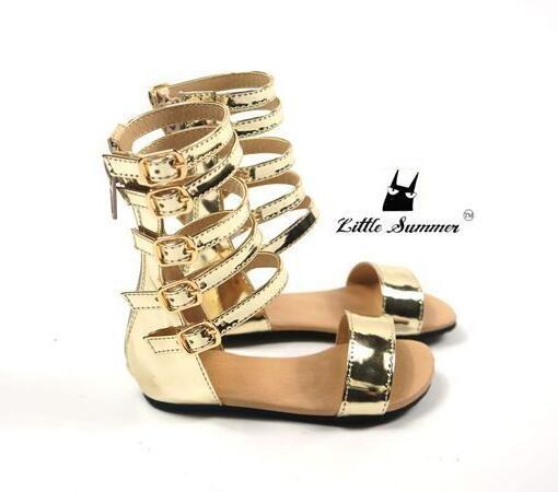 Littlesummer été bébé filles gladiateur sandales chaussures enfants chaussures romaines enfants en cuir haut petite fille mode sandales