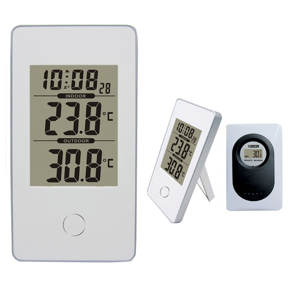 HOT Modern Simple Style White Wireless Weather Station Indoor/Outdoor Digital Thermometer Snooze/Alarm Clock 12/24 hour select