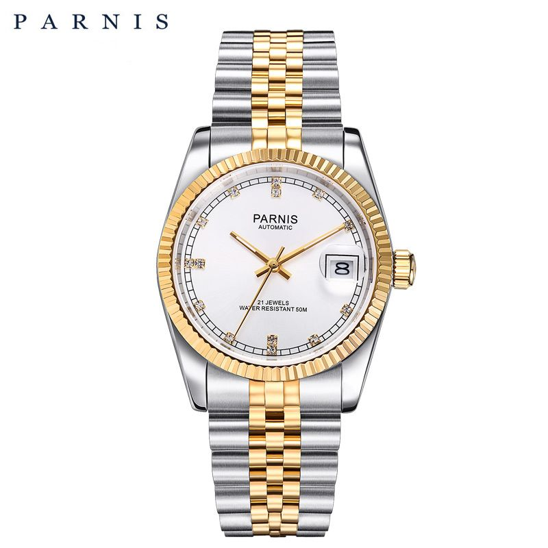 Parnis Men watch 2018 Luxury Brand Gold Automatic Watch Men Women Elegant Diamond Stainless Bracelet Watches PA2112