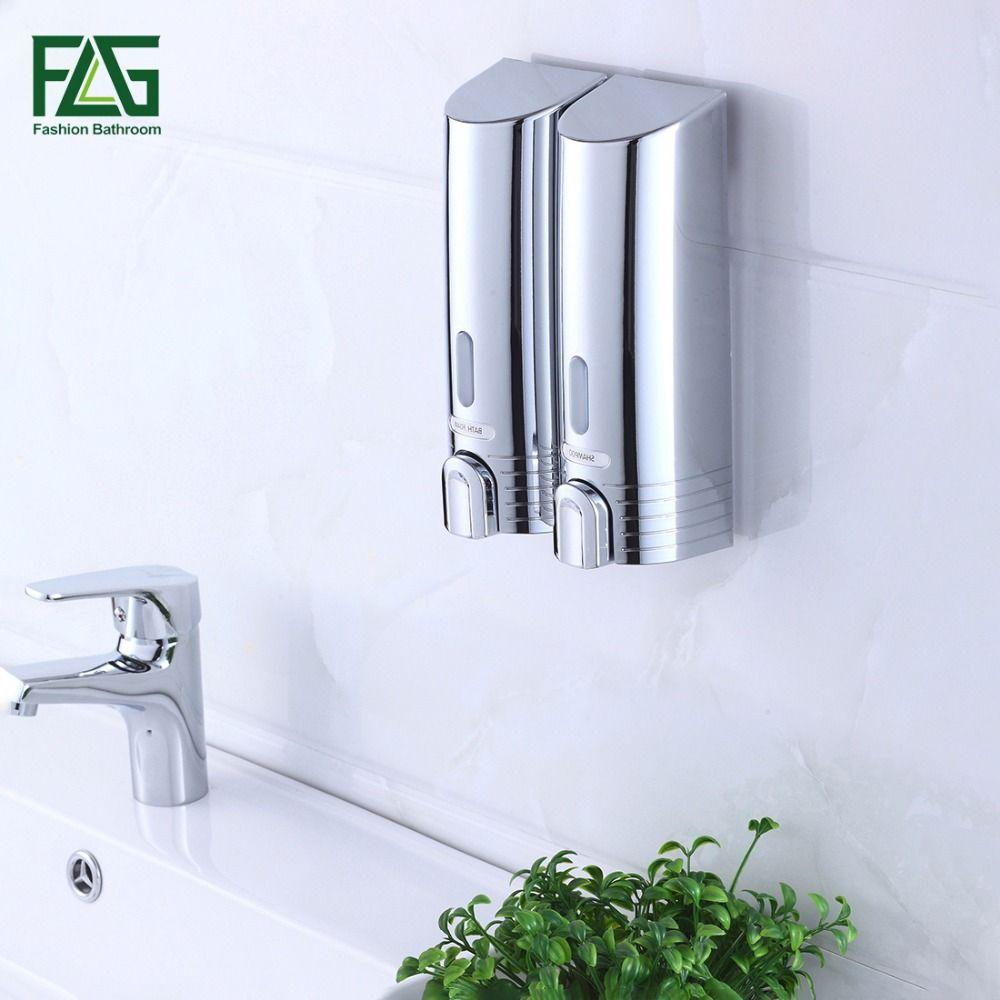 FLG moins cher Double distributeur de savon mural savon shampooing distributeur aide de douche pour salle de bain hôpital hôtel approvisionnement P113-02C