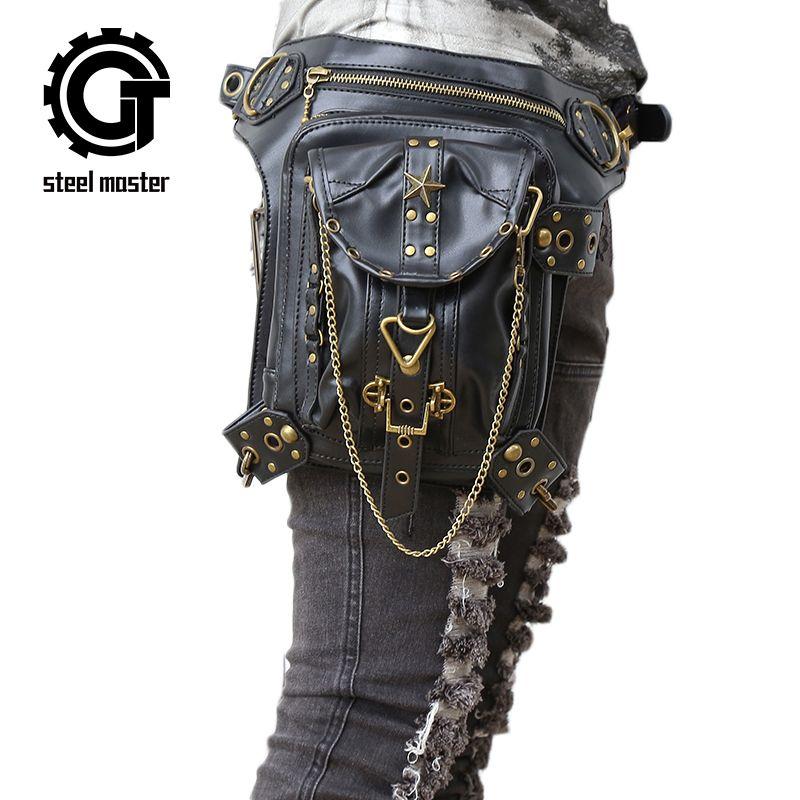 Стимпанк Для женщин Для мужчин Поясные сумки панк готический из искусственной кожи плечо Бедро Сумки модные путешествий Хип Сумки