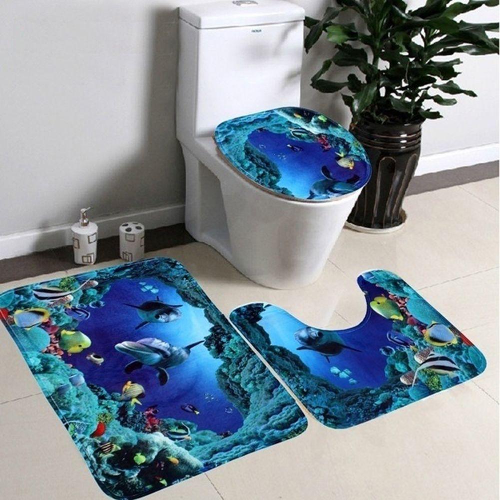 Offre spéciale mode 3 pièces/ensemble salle de bain tapis antidérapant tapis tapis bleu océan Style piédestal tapis + couvercle couverture de toilette + tapis de bain [NF] FG