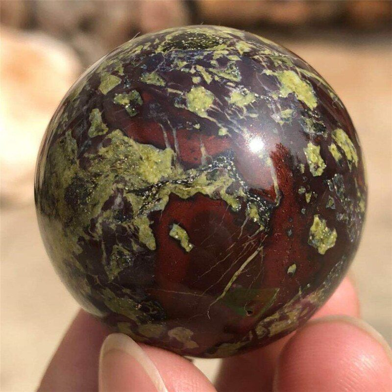 1PC 40mm Natural Dragon Blood Stone Jasper Crystal sphere ball healing