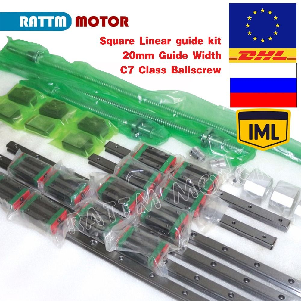 EU/RU Delivery! Square Linear guide 6pc 400/700/1000mm & 3pc Ballscrew 1605-400/700/1000mm with Nut & 3set BK/B12 & Couuling