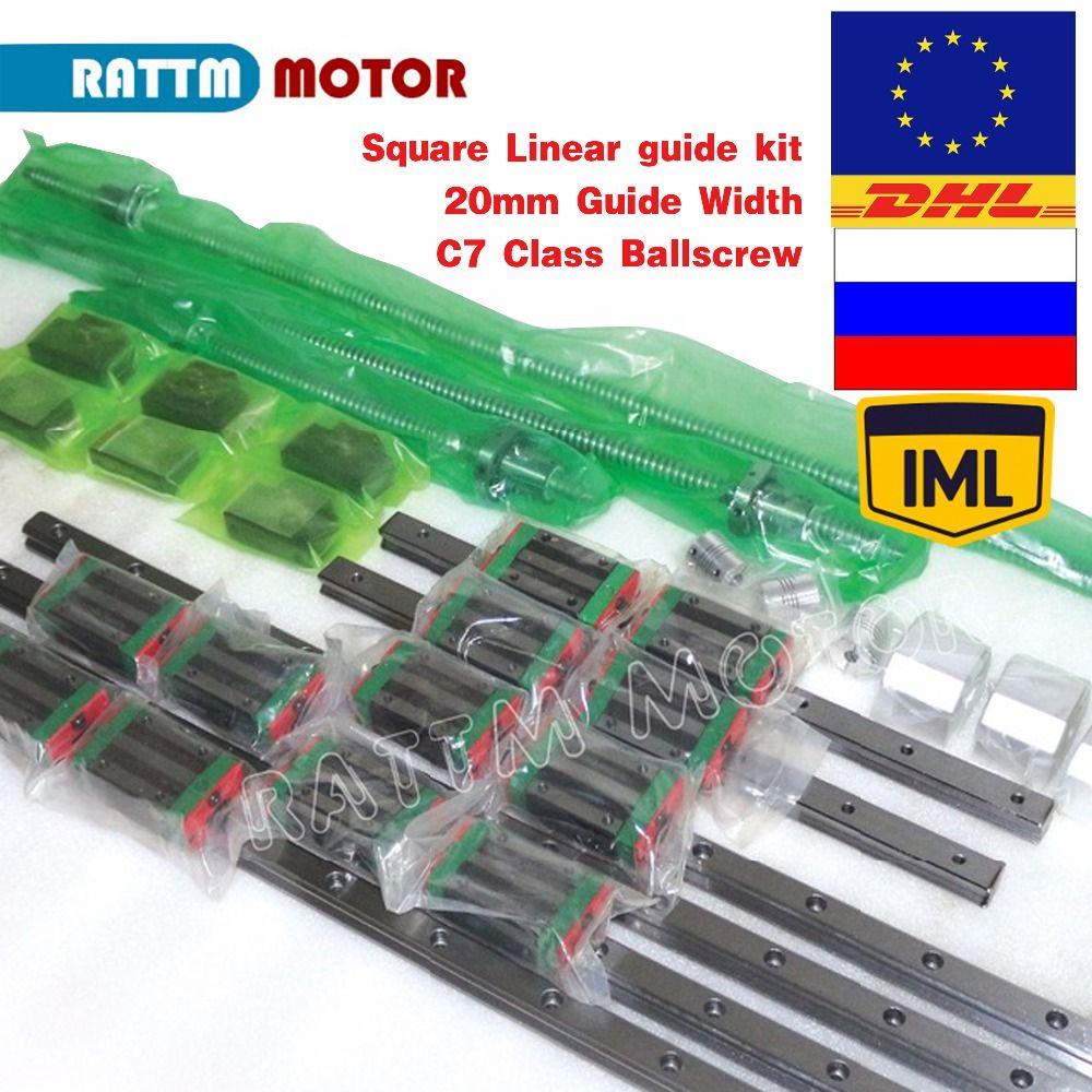 EU/RU Lieferung! Platz Linear guide 6 stück 400/700/1000mm & 3 stück Kugelumlaufspindel 1605-400/700 /1000mm mit Mutter & 3 satz BK/B12 & Couuling