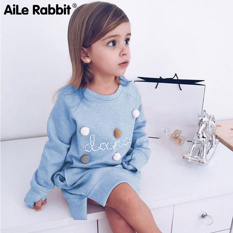 AiLe Rabbit 2018 Autumn Winter Cartoon Letter Embroidery Sweatshirt Girl Fashion <font><b>Long</b></font> Hoodie Dress Pullover Moletom Feminina