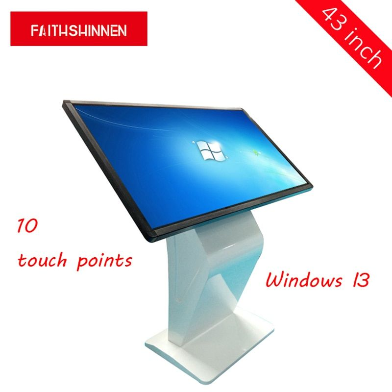 43 inch kiosk display multi touch screen stand lcd touch screen all in one I3