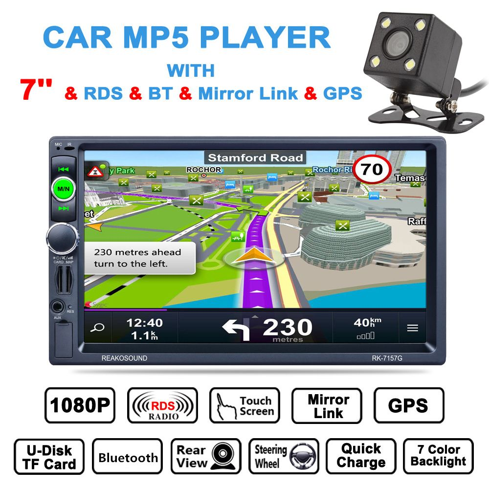 7 Inch 2 Din Bluetooth Car Multimedia Auto Stereo MP5 Player GPS Navigation AM FM RDS Radio Support Mirror Link Aux In + Camera