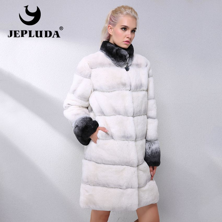 JEPLUDA Latest Fashion Color Real Rex Rabbit Fur Coat Women Clothes Thick Warm Hem Removable Real Fur Coat Leather Jacket Women