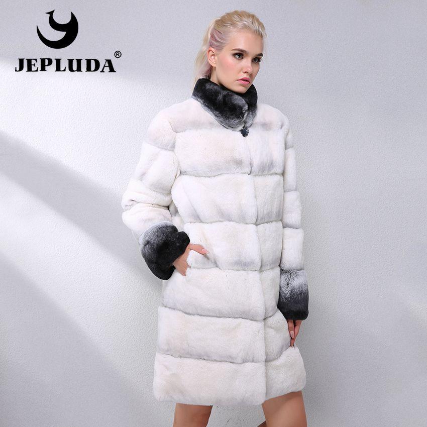 JEPLUDA Latest Fashion Color Real Rex Rabbit Fur Coat Women Clothes Thick Warm Hem Removable Real Fur Coat Leather Jacket Women