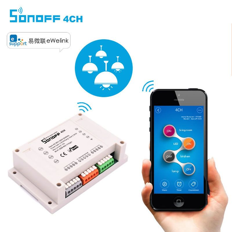Itead Sonoff 4CH Wifi Switch 4-Gang 4-Way Din Rail Mounting on/off Wifi Remote Control Wireless Switch For Smart Home 10A/2200W