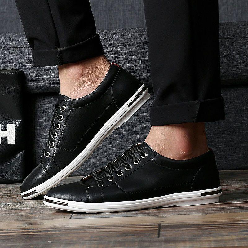 Nueva Hot Tamaño Grande Ocasionales de Los Hombres de Microfibra Zapatos de 2017 Del Otoño Del Resorte hombres Low Top Zapatos de Cuero Hombres Diarias Luz Cómoda Zapatos Planos