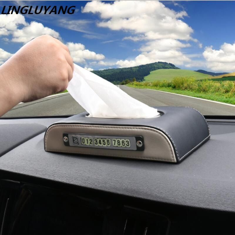 for BMW AUDI VOLVO car tissue box car removeable tissue box box Multi-function parking card card car styling Universal