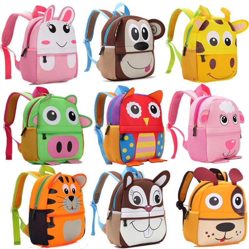 2019 nouveau 3D animaux enfants sacs à dos marque Design fille garçons sac à dos enfant en bas âge enfants néoprène sacs d'école maternelle dessin animé sac