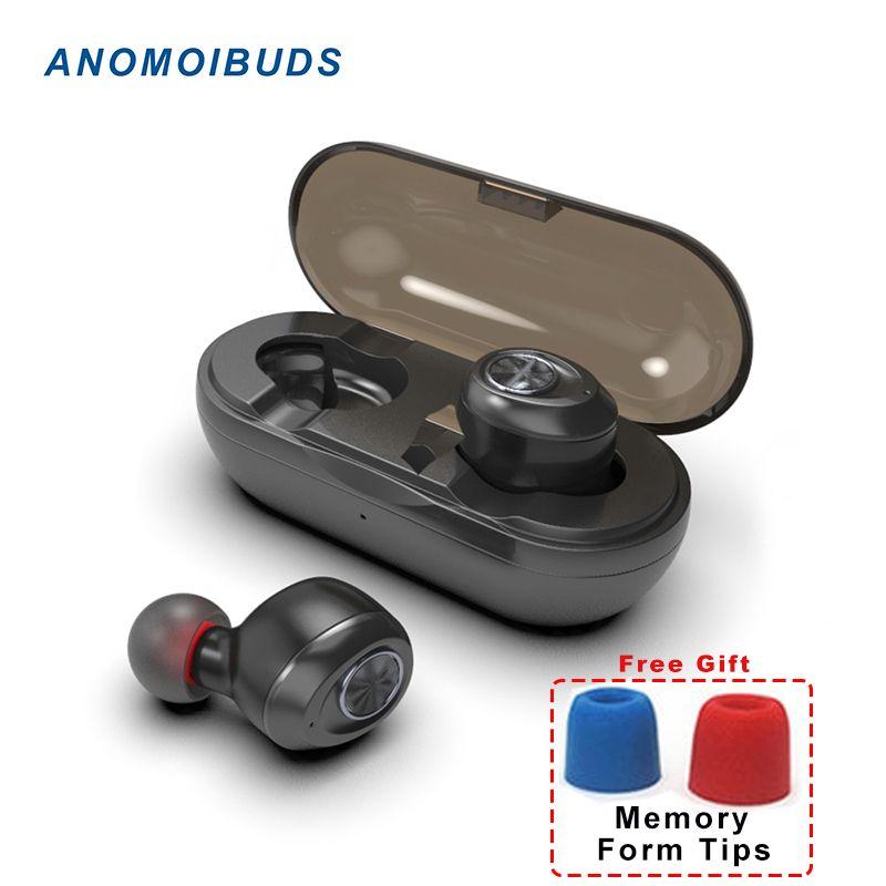 Anomoibuds Capsule TWS Sans Fil Écouteurs V5.0 Bluetooth Écouteur Casque Deep Bass Son Stéréo Sport Écouteurs Pour Samsung Iphone
