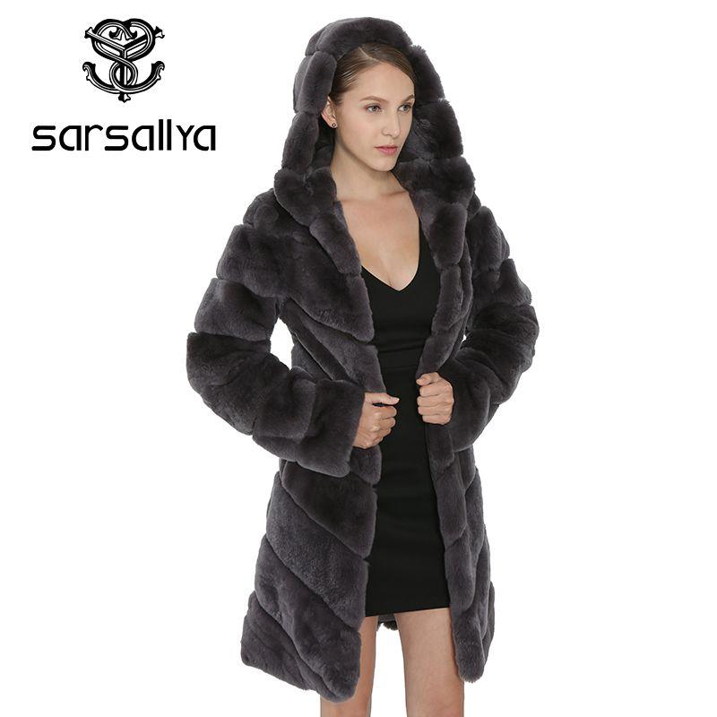 SARSALLYA Rex Kaninchen Pelzmantel Frauen Natürlichen Fuchs Pelz Mit kapuze Jacke Dicke Mäntel Weste Warme Winter Frauen Kleidung Mantel