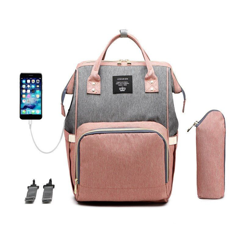 Lequeen Stripe Diaper Bag Backpack Designer Nursing Care Baby Bag Travel Nappy Bag Organizer Waterproof Maternity Patchwork Bag