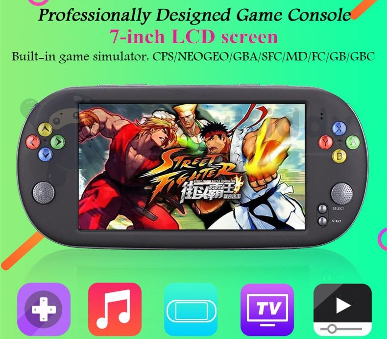 7-inch LCD screen handheld game console player 8G TV output Video playback support downloading games music e-books taking photos