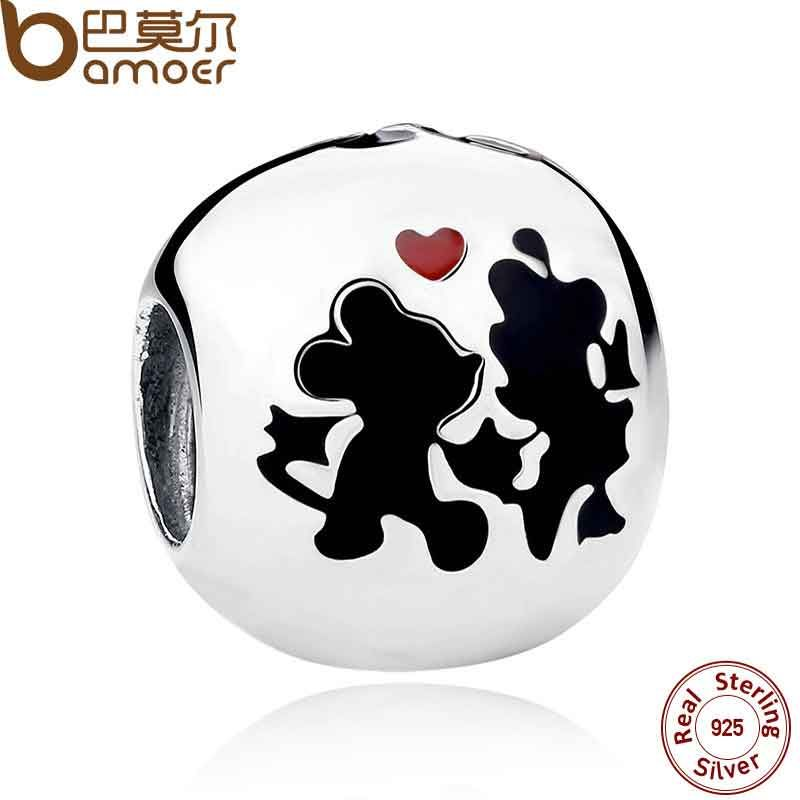 BAMOER Popular 925 Sterling Silver Charms Minnie & Mickey Forever Charms for Children Bracelet Necklace Accessories PAS255