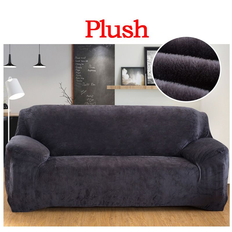 Elastic Slipcover Solid Color Plush Stretch Sectional Sofa Covers for 1/2/3/4-seater Corner Sofa Covers Couch Cover