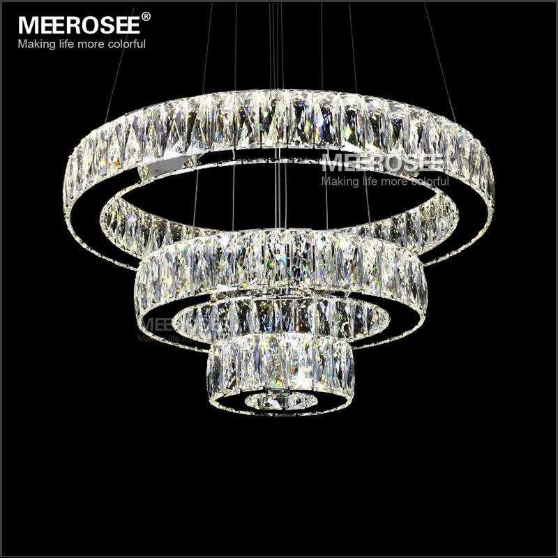 Vente chaude LED K9 Cristal Pendentif Lumière Lampe Lustres De Cristal Suspension Moderne LED 3 Anneaux Baisse Luminaire MD2226